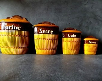 French kitchen Canisters.1950s.Kitchen containers. Box .Kitchen storage.Kitchenalia