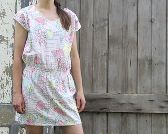 Short Sleeve Food Jumper Sundress: Pink, Blue & Yellow with Buttons