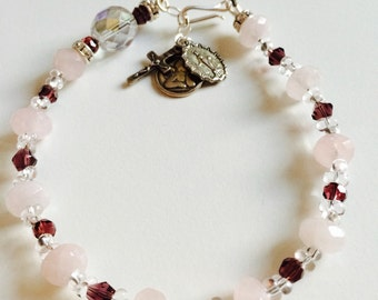 Rose Quartz and Sterling Silver Angel Rosary Bracelet