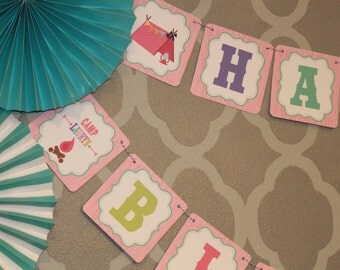 GLAMPING GLAM CAMPING Happy Birthday or Baby Shower Party Banner