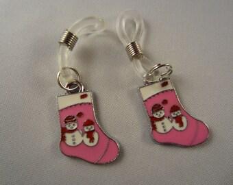 A gift set of 2 Santas Stocking knitting needle holders - christmas gift stocking stuffer, charm knitting needle holder, hand made,gift,pink