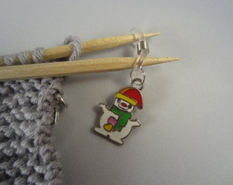 A snowman knitting needle holders - christmas gift stocking stuffer, charm knitting needle holder, hand made,gift