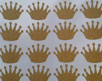 50 Gold glitter crown stickers, great for envelope seals party decorations.
