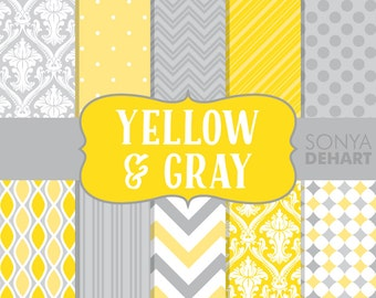 70% OFF SALE Yellow and Gray Digital Paper Baby Girl Wedding Chevron Trellis Damask Polka Dots Stripes DP122
