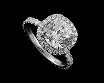 Cushion Cut Halo Engagement Ring, Nexus Diamond Proposal Ring, Cut Down Micro Pave Set Natural Diamond Ring, Modern Style Platinum Ring