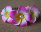 Pink Plumeria Comb Shape Hair Clip (With Pearls)