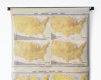 1920's Pull Down School Map - Hart American History Series - USA Politics and Transportation Maps