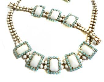 Vintage 1950s White Cabochon and Turquoise Rhinestone Necklace Earrings Bracelet