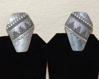 Signed Native American Indian Clip Earrings