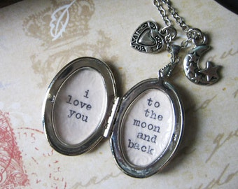 inspirational locket necklace with quote i love you to the moon and back locket pendant with inspiring message  motivational jewelry