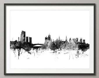 Leeds Skyline, Leeds England Cityscape Art Print (1452)