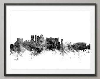 Cape Town Skyline, Cape Town South Africa Cityscape Art Print (1468)