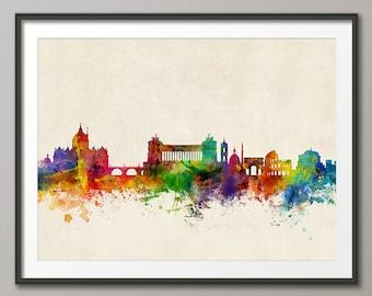 Rome Skyline, Rome Italy Cityscape Art Print (1500)