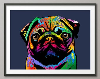 Pug Dog, Pop Art Print (1739)