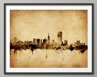San Francisco Skyline, San Francisco California Cityscape Art Print (1779)