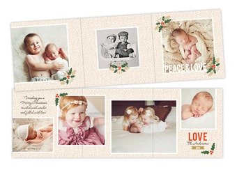 INSTANT DOWNLOAD - 5x5 Christmas Accordion Card Photoshop Template - E950