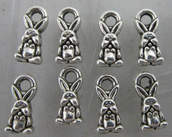 12 Rabbit Charms Antique Silver Double Sided 10 x 5 mm United States - ts690