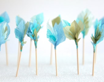 feather arrow cupcake toppers - blues