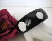 Polka Dot Bangle Black White Lucite Bracelet