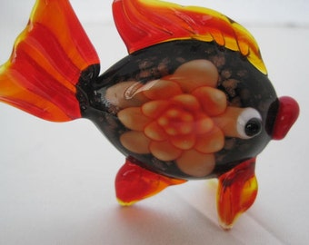 Fish Brooch - Orange Blown Glass - Angel Fish Glass Pin