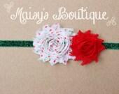 75% Off- CHRISTMAS White Red Green Polka Dot Shabby Flower Green Glitter Headband/ Newborn Headband/ Baby Headband/ Photo Prop