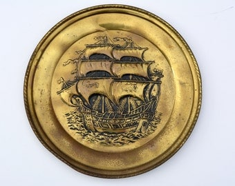 1960s Brass Wall Sailing Galleon Tall Ship Vintage Brass Vintage Home Decor Vintage Metalware Vintage Wall Plaque