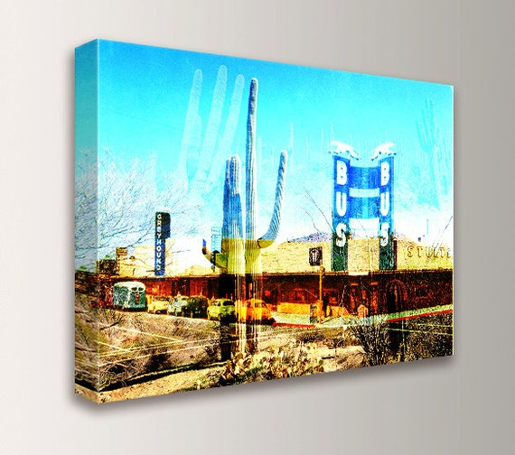 """Desert Wall Decor - Southwestern Art Photography - Canvas Print - Mixed Media Collage - Sky Blue Teal and Rust - """" Greyhound to Tucson """""""