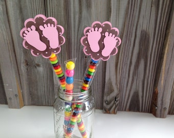 Set of 12 - PINK BABY FEET Candy Sleeve or Favor Bag Clips  - Baby Shower Favors - Decorations/Favors - Bag/Sleeve Included - Pink and Brown