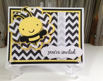 Set of 12  Yellow and Black BUMBLE BEE Personalized Birthday Party or Baby Shower Invitations - Girl/Boy/Gender Neutral