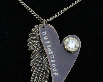 Bronze Bulletproof Heart Hand Stamped Necklace