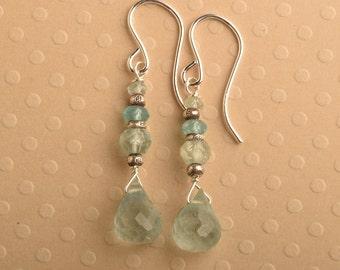 Aquamarine Earrings, March Birthstone, Moss Aquamarine, Gemstone Earrings, Summer Earrings