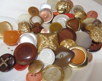 Golden Orange Creamsicle Vintage Button Collection - 43 unique buttons (2A)