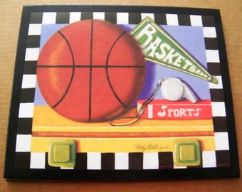 BASKETBALL Ball Sports Vintage Art Wall Decor room plaque picture wooden sign