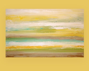 art & collectibles, Paintings,  Acrylic Abstract Painting  Original Ora Birenbaum Titled: Pocket of Sunshine 3 30x48x1.5""