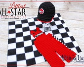 Newborn Race Car Driver Set -Backwards Cap and Overals and Checkered Blanket-Littlest All Star Collection- Baby Boy-Photo Prop