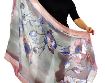 Hand painted silk Shawl/Painting flowers/Painting Silk Shawl/Long scarf/Floral silk shawl/Painting by hand flowers/Floral gray shawl/H0053
