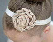 Taupe & Cream Ivory Headband -  Baby Newborn Infant Photo Prop Toddlers Girls Women Champagne Wedding Flower Girl