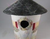 Vintage Round Birdhouse-Paper Mache  Hand Painted Black Roof Decorative