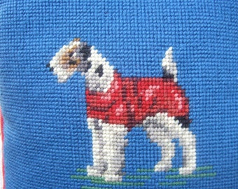 Needlepoint Hand Stitched Terrier Dog Pillow