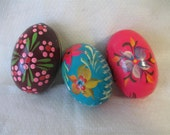 Polish Handpainted Wood Eggs, Vintage Pisanki,Easter Eggs, Vintage Polish Eggs, Folk Art, Colorful Eggs, Home Décor, Group C