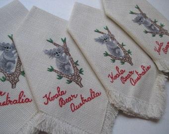 Vintage Embroidered Set of 4 Koala Bear Australia Napkins