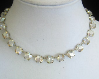 """CLEARANCE Art Deco AB Crystal Rhinestone Link Necklace. 24 Lrg (10 mm) gems in Open Brass Settings. 6-gem Extender Chain.  14.25""""-16.25"""" L."""