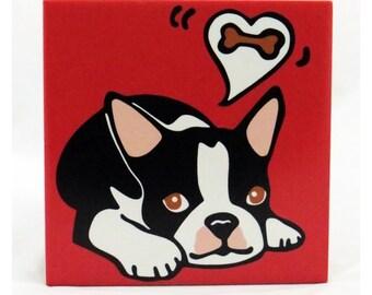 Boston Terrier Puppy/Boston Terrier/Dog/Puppy Ceramic Trivet/Hot Plate - 50% Off Ceramic Trivet Sale