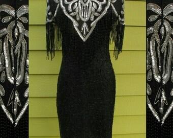 Hollywood Glam Vintage Trophy Dress - Black Beads Silver Sequins - Beaded Fringe - Flapper Dress - Art Deco Gatsby - 80s does 20s - Med 8 10
