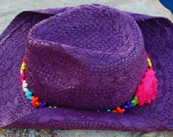CLEARANCE Plum Cowgirl Hat with Colorful Starfish Band