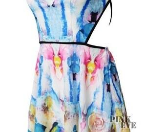 Summer halter cut out abstract print dress