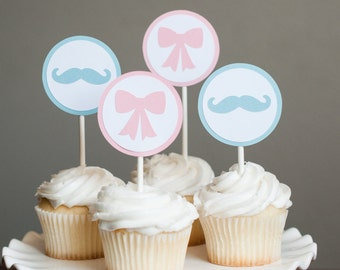 Bow and Mustache Baby Shower, Gender Reveal Baby Shower, Gender Reveal Cupcake Toppers
