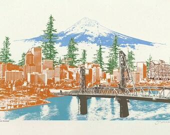Watching Over Portland Art Print - 12.5x19 - Photo Illustration
