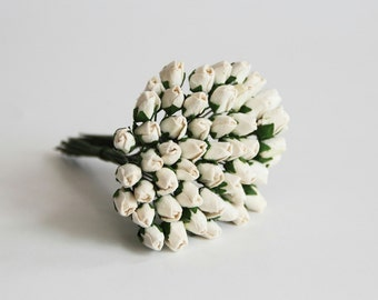 50 pcs - White Mulberry Paper Closed Rose buds