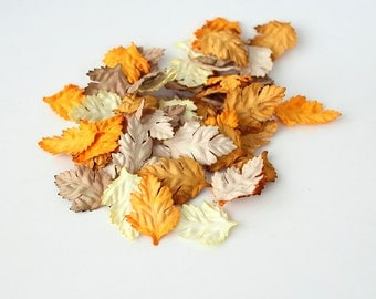 500 pcs - Mulberry paper wild rose leaves - Mixed brown colors -2 x 4 cm (3/4 x 1 1/2 inch)